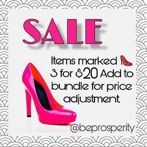 Items marked with 👠 3 for $20